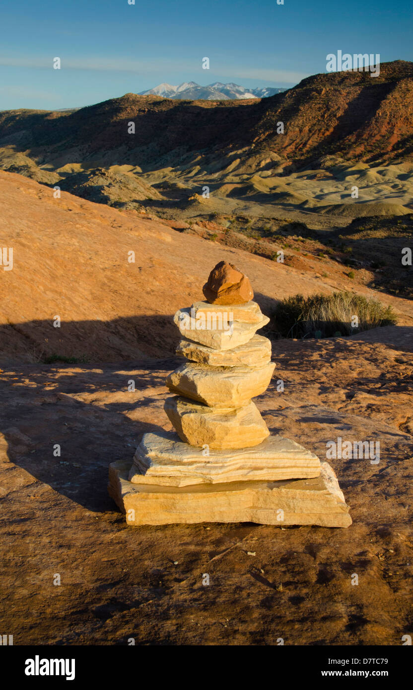 Cairn, Arches National Park, Utah, US - Stock Image