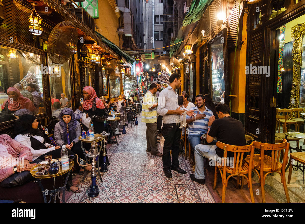Fishawi´s Coffehouse at Khan al-Khalili, Islamic Cairo, Egypt - Stock Image