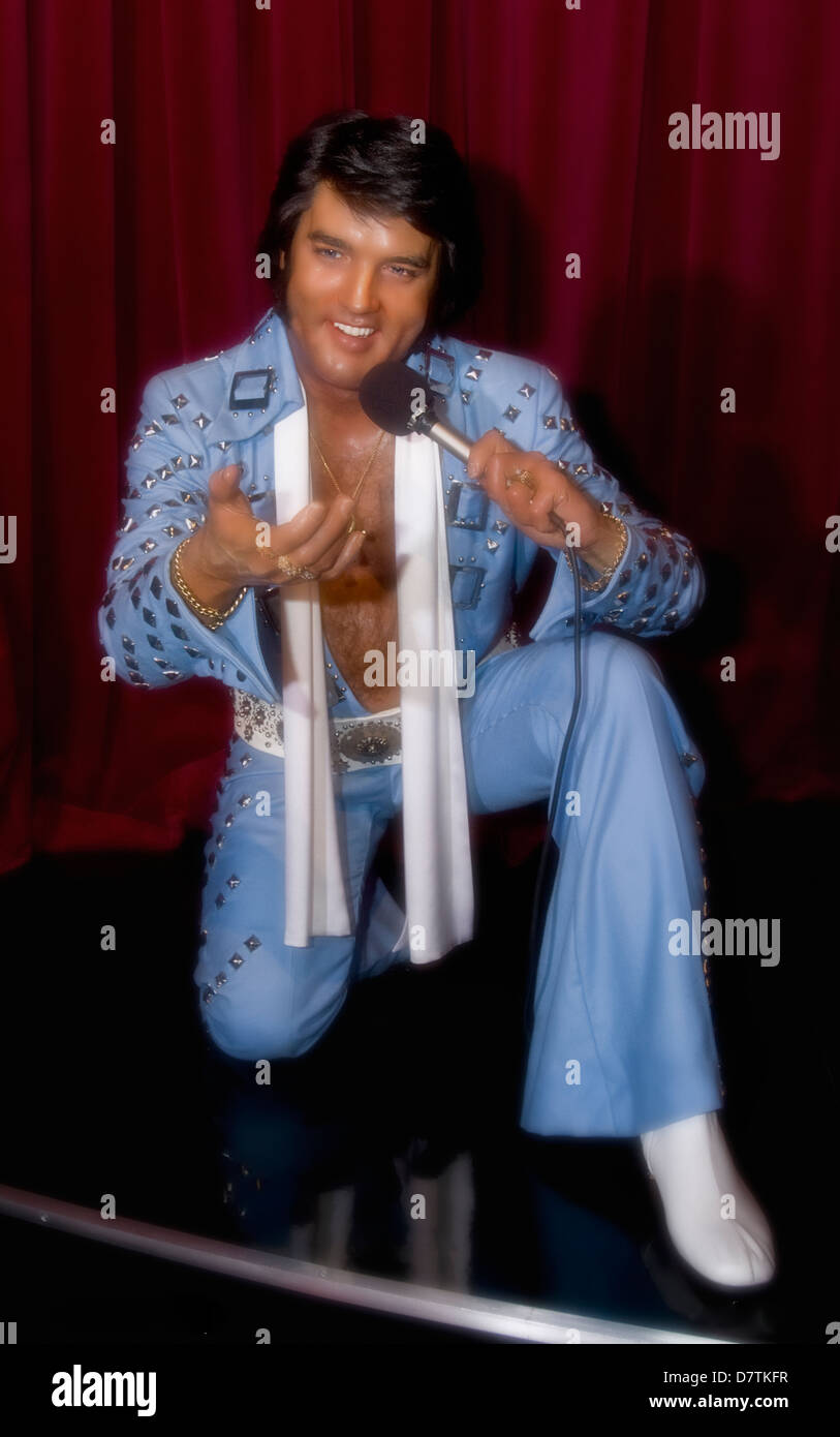 Jumpsuit Elvis In a wax,Madame Tussaud's Museum,Las Vegas - Stock Image
