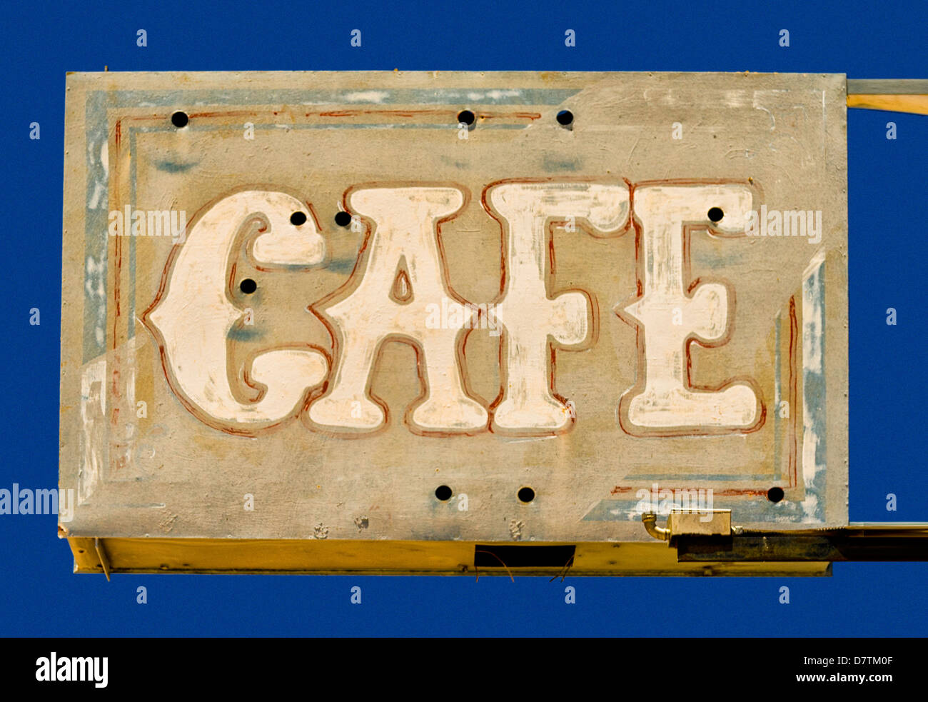 Desert Patina, a faded cafe sign,on Old Route 66. - Stock Image