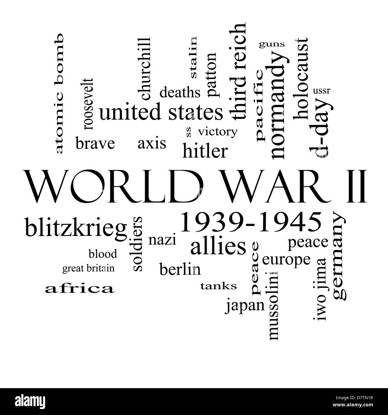 World War II Word Cloud Concept in black and white with great terms such as guns, axis, allies, victory and more. Stock Photo