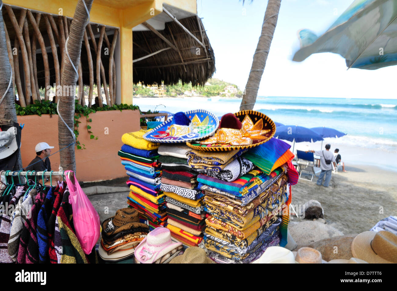 Colorful sombreros and serapes for sale at a beach in Sayulita, Mexico. Stock Photo