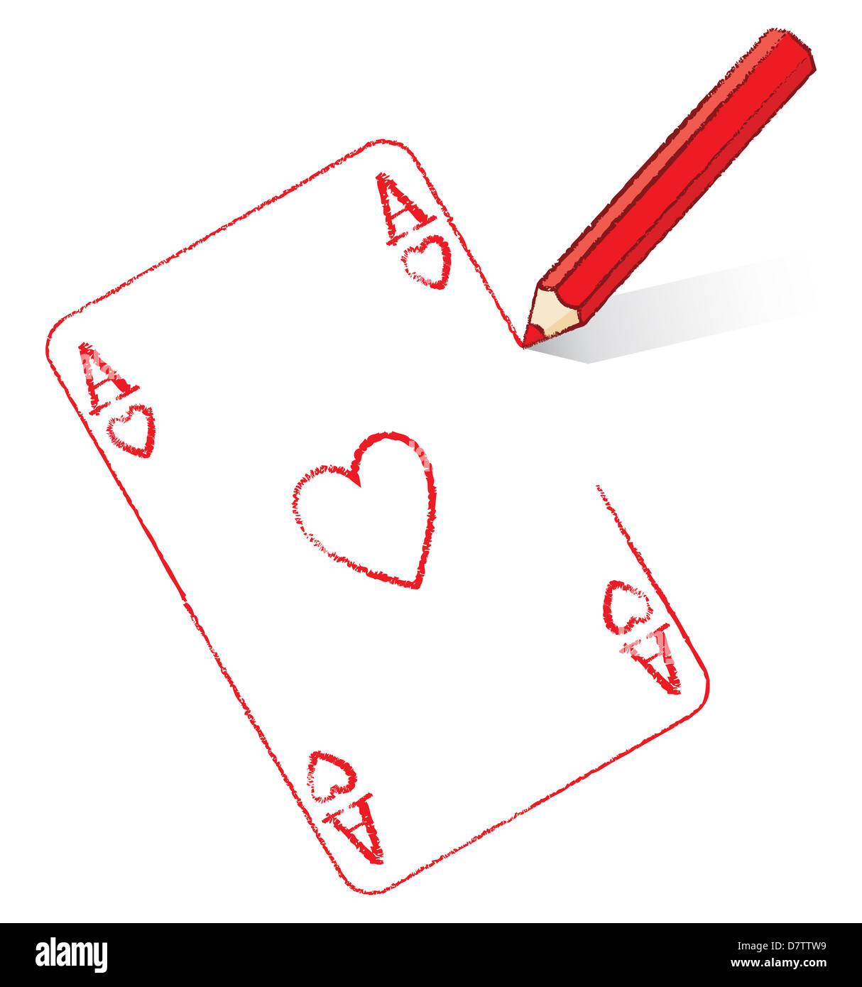 Red Pencil Drawing Ace of Hearts Playing Cards Stock Photo