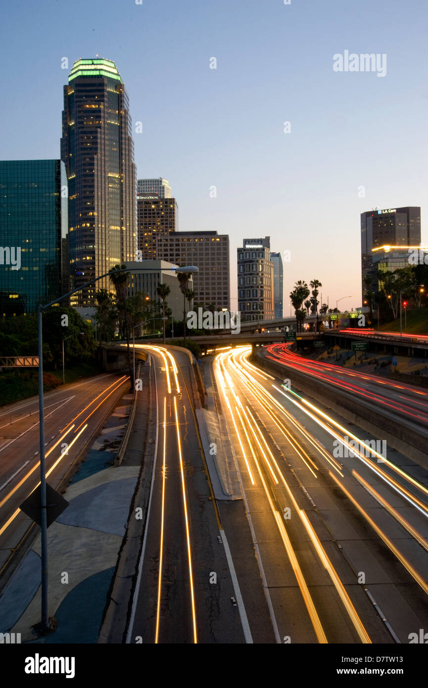 Downtown Los Angeles at dusk - Stock Image