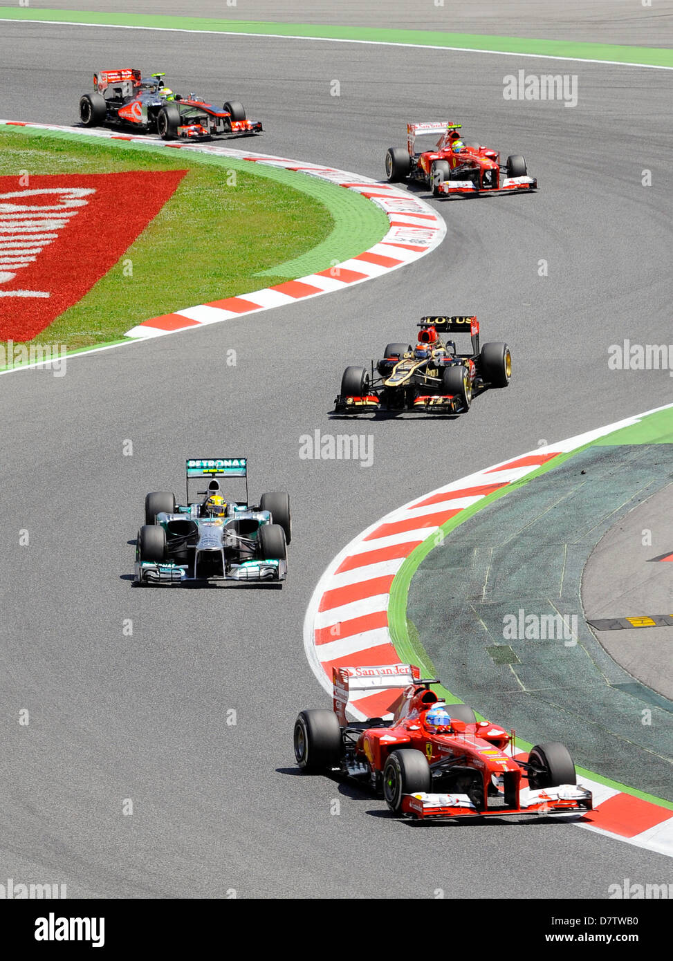 Montmelo, Spain. 12th May 2013. from  front:  Fernando Alonso (ESP), Ferrari F138, Lewis Hamilton (GBR), Mercedes - Stock Image