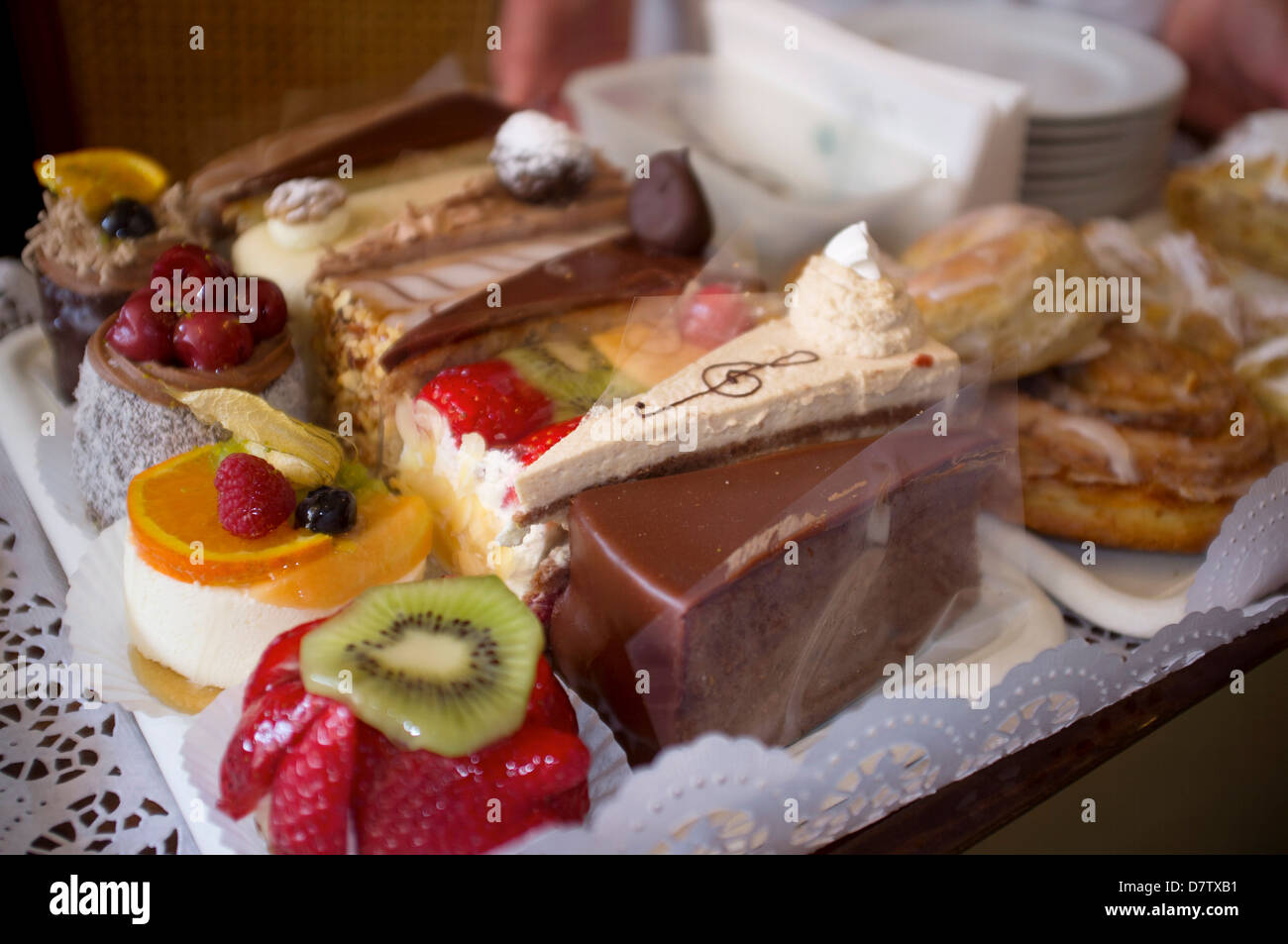 A pastry tray at Cafe Tomaselli, Altstadt, Salzburg, Austria - Stock Image