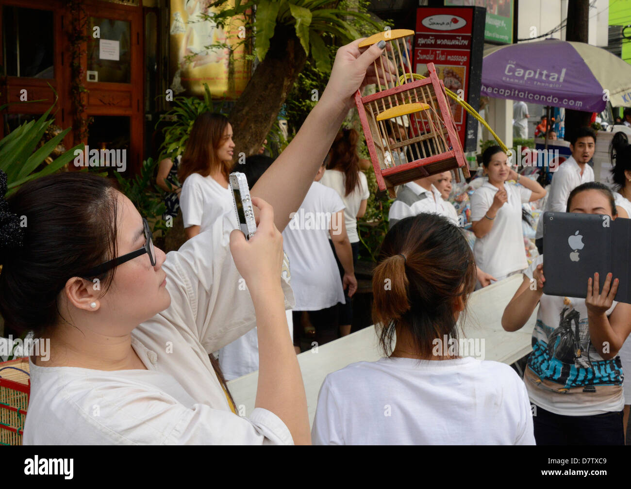 Releasing of birds to gain merit, another facebook opportunity, Bangkok, Thailand, Southeast Asia - Stock Image