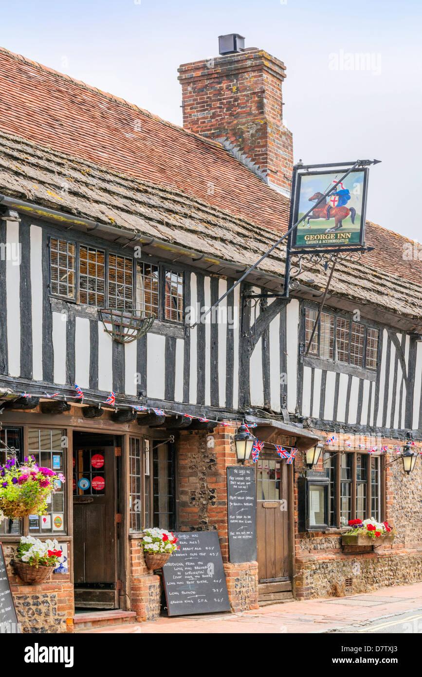 George Inn, Alfriston, East Sussex, England, United Kingdom - Stock Image
