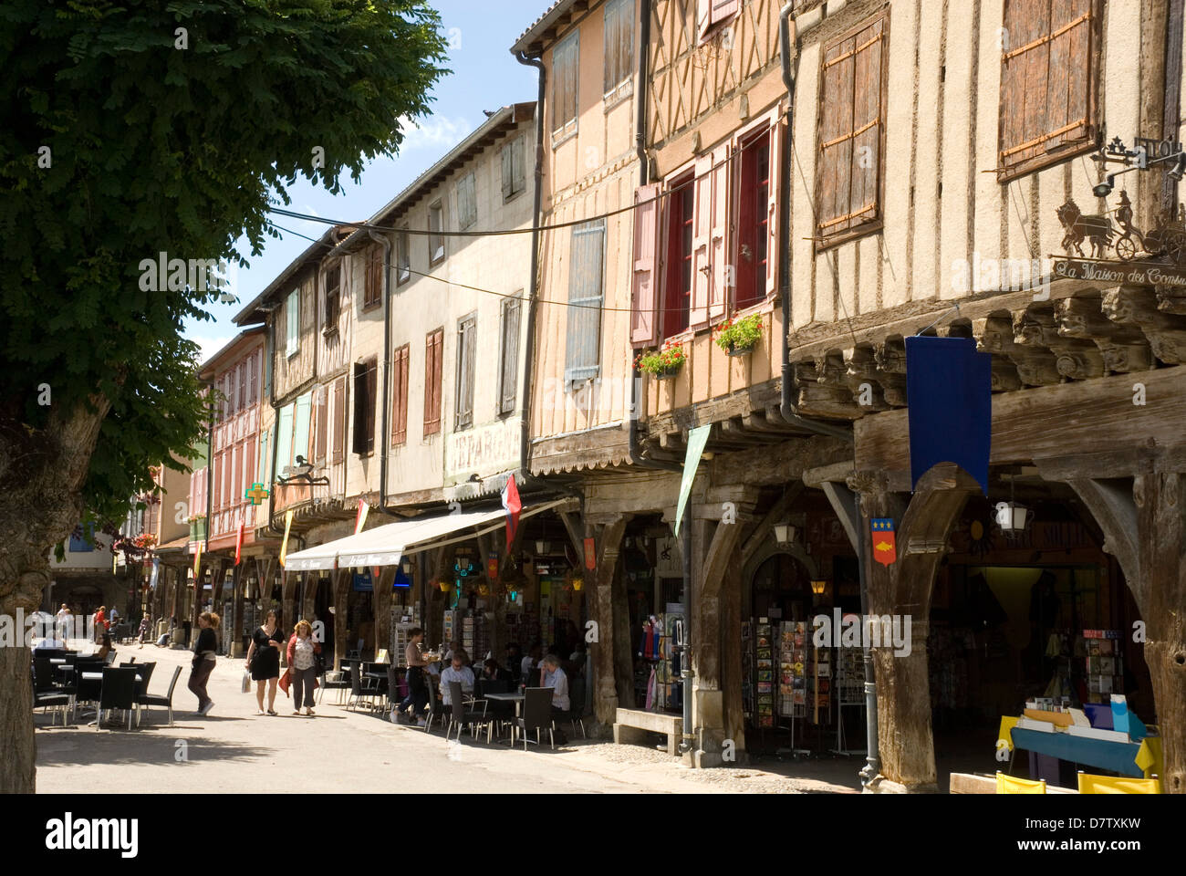 Central square, Mirepoix, Languedoc, France - Stock Image