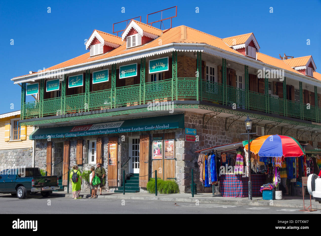 Shop on Dame Eugenia Charles Boulevard, Waterfront, Roseau, Dominica, Windward Islands, West Indies, Caribbean - Stock Image