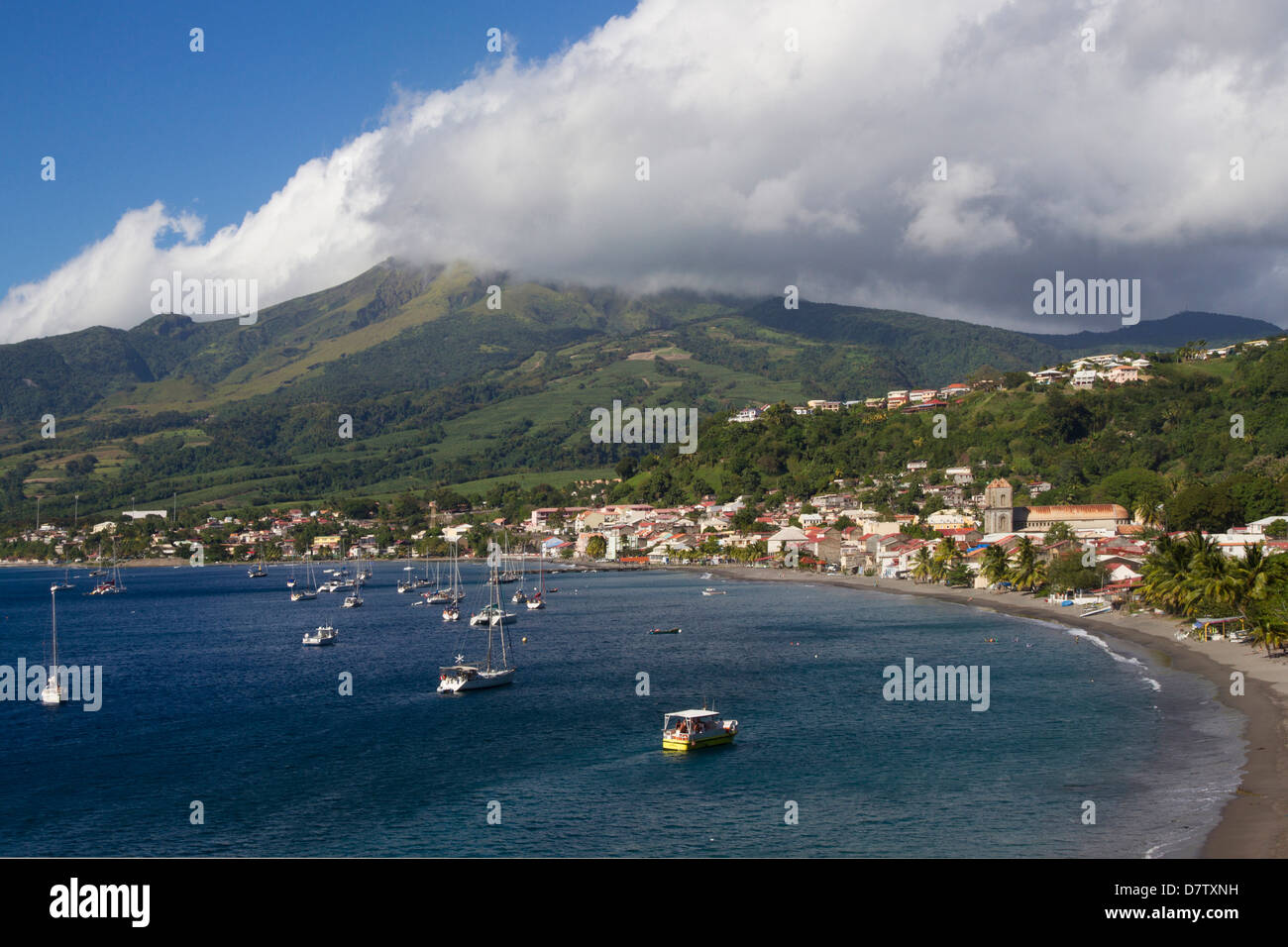 St. Pierre Bay, with Mont Pelee behind, scene of 1902 volcanic disaster, Martinique, Windward Islands, West Indies, - Stock Image