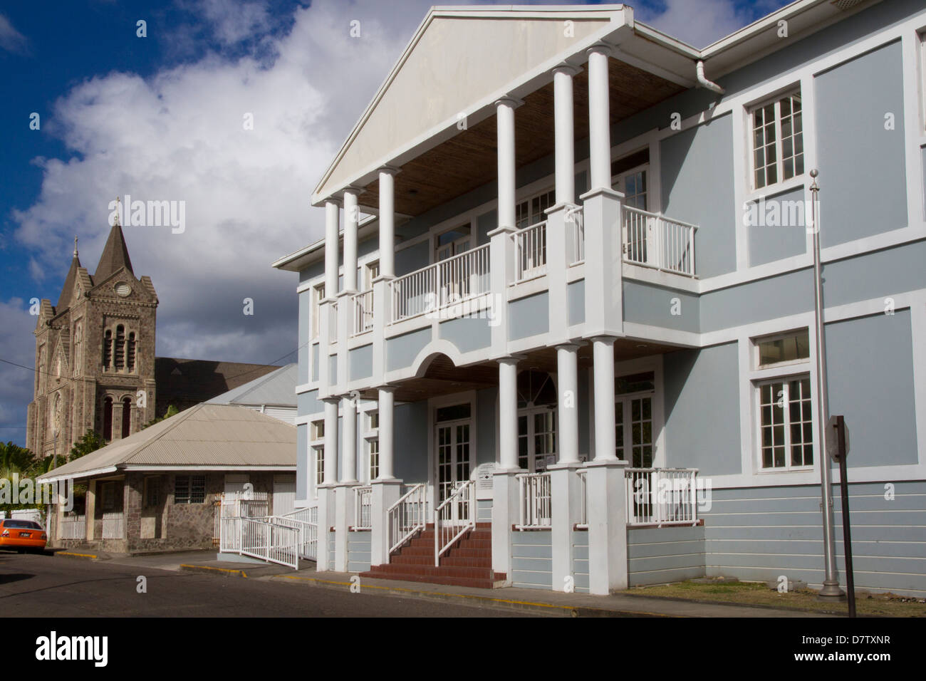 Courthouse and Roman Catholic church, Basseterre, St. Kitts, St. Kitts and Nevis, Leeward Islands, West Indies, - Stock Image