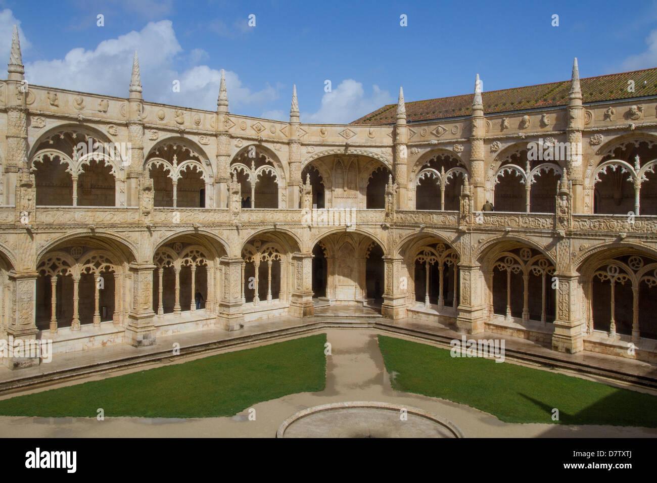 Cloisters, Jeronimos Monastery, UNESCO World Heritage Site, Lisbon, Portugal - Stock Image