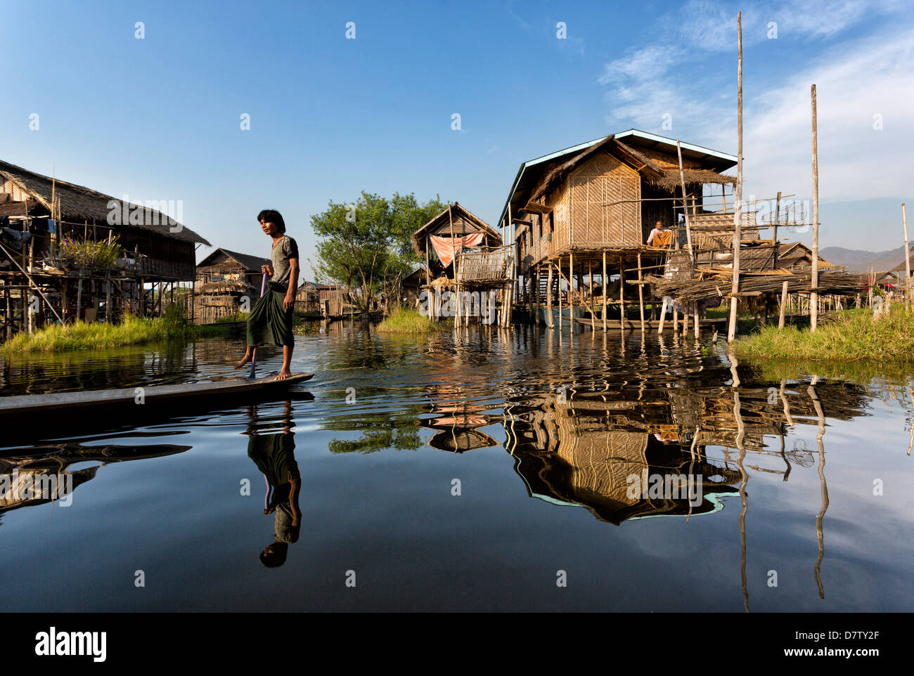 Houses built on stilts in the village of Nampan on the edge of Inle Lake, Shan State, Burma - Stock Image