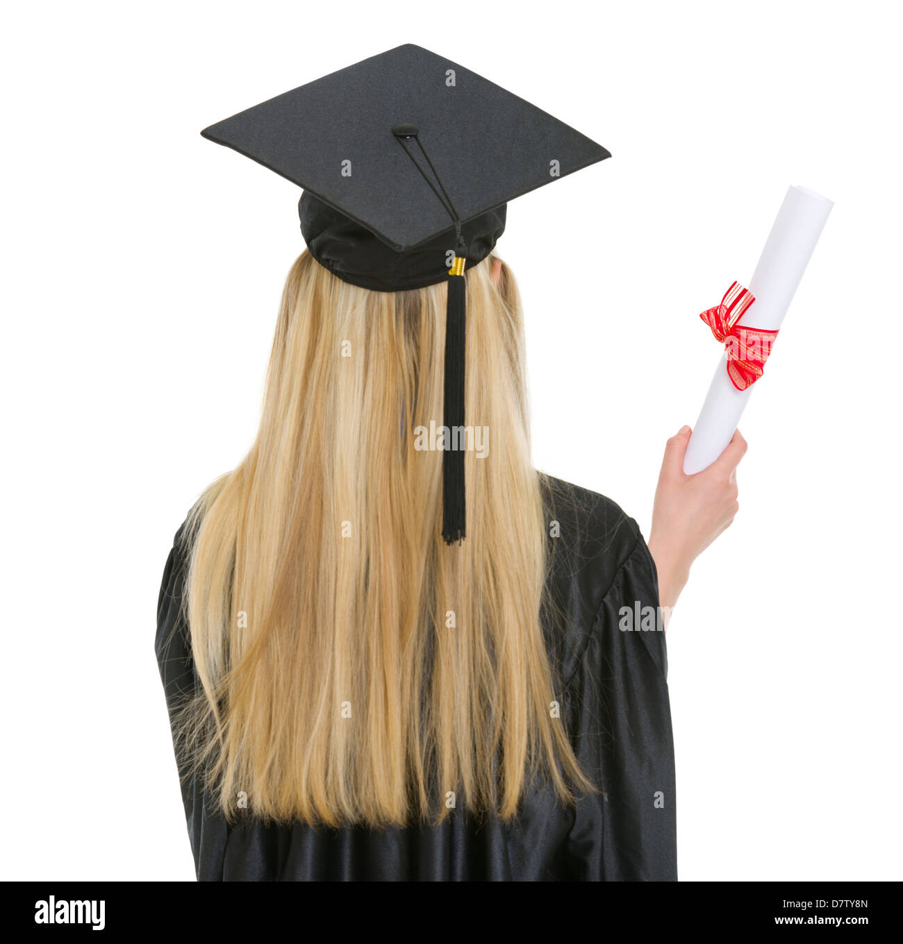 Woman in graduation gown with diploma . rear view Stock Photo ...