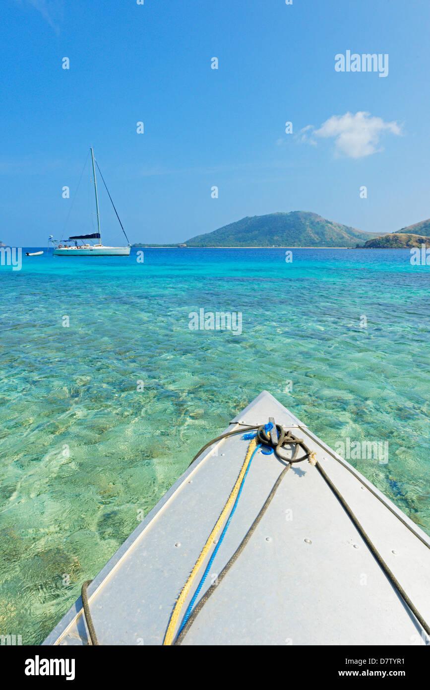 Nautical vessel sailing, Yasawa island, Yasawa island group, Fiji, South Pacific islands - Stock Image