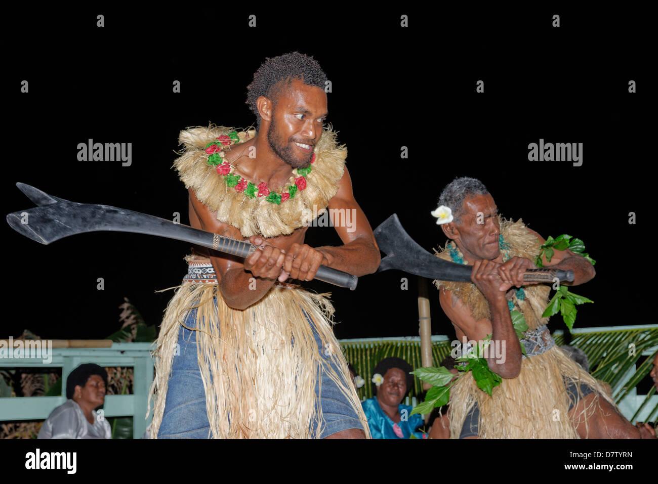 Kava ceremony, Wayaseva island, Yasawa Island group, Fiji, South Pacific islands - Stock Image