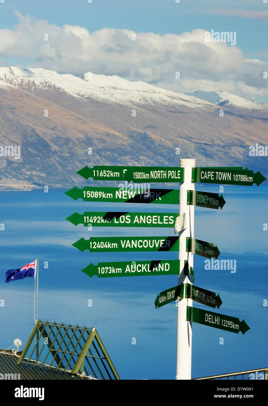 All directions sign post, Queenstown, Otago, South Island, New Zealand - Stock Image