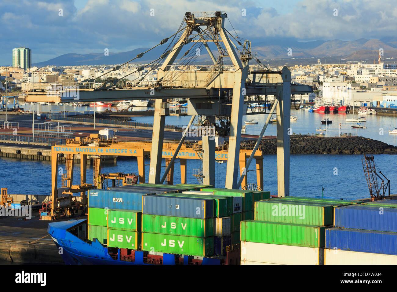 Conatiner ship in the Port of Marmoles, Arrecife, Lanzarote Island, Canary Islands, Spain, Atlantic - Stock Image
