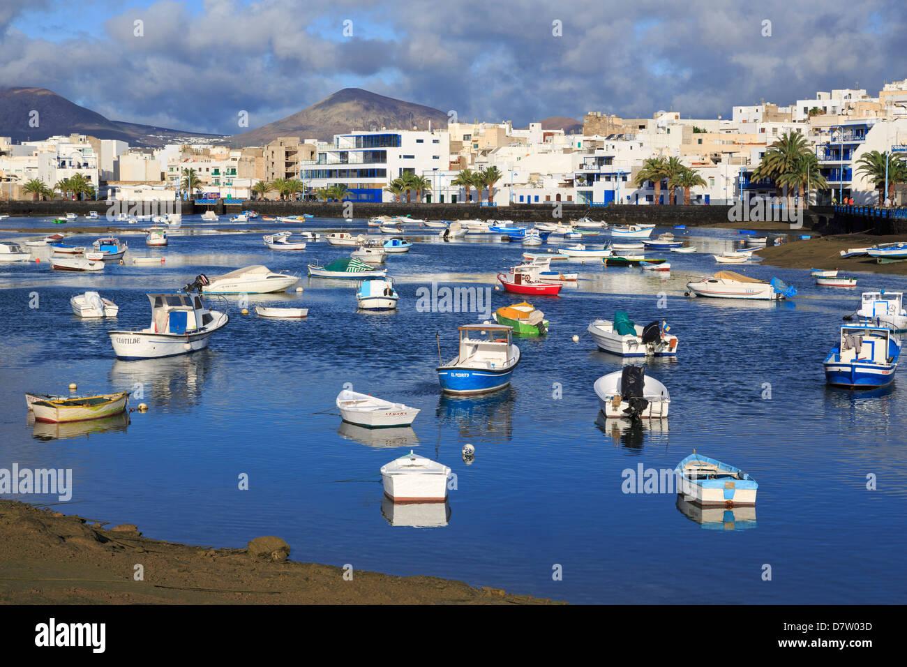 Fishing boats in Charco de San Gines, Arrecife, Lanzarote Island, Canary Islands, Spain, Atlantic - Stock Image