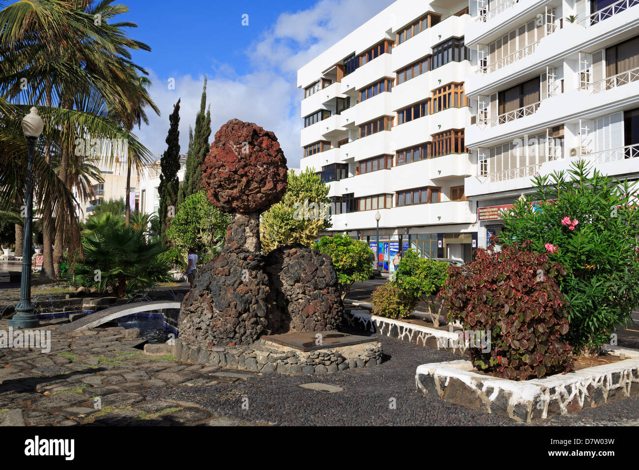 Volcanic rock on the waterfront, Arrecife, Lanzarote Island, Canary Islands, Spain - Stock Image