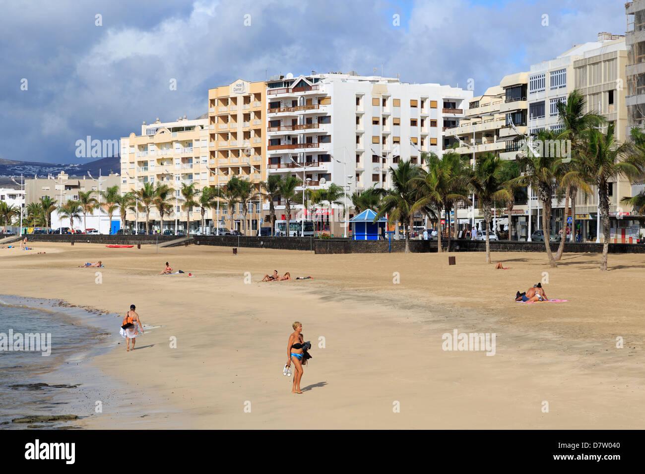 Reducto Beach, Arrecife, Lanzarote Island, Canary Islands, Spain, Atlantic - Stock Image