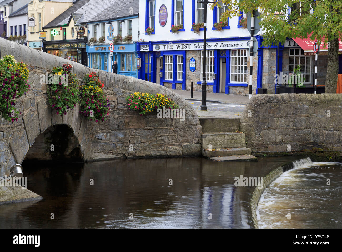 Carrow Beg River in Westport, County Mayo, Connaught, Republic of Ireland - Stock Image