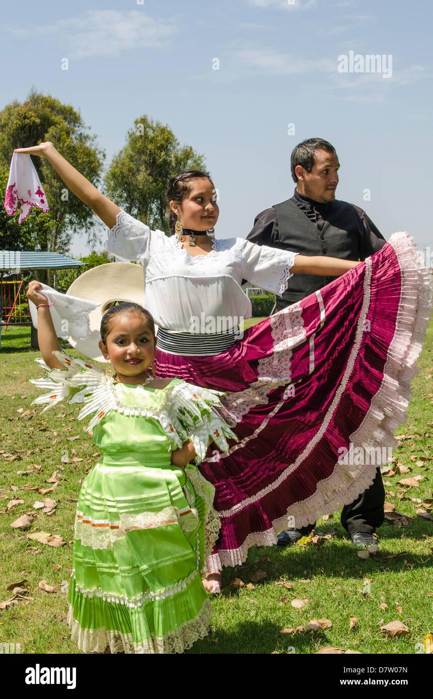 A Marinera dancer dancing a typical Peruvian dance in Trujillo, Peru, South America - Stock Image