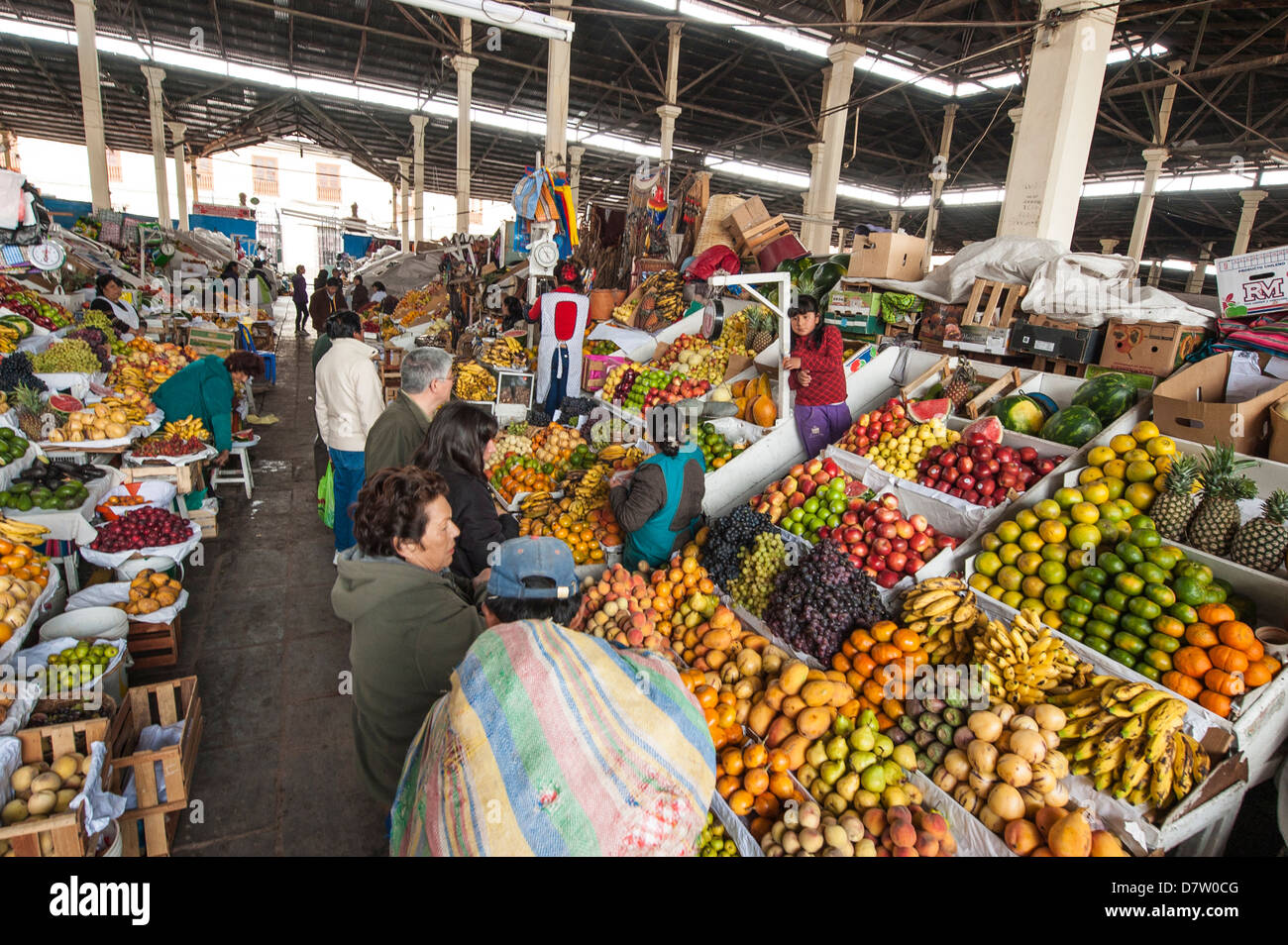 Fruit stall in the local market Cuzco, Peru, South America - Stock Image