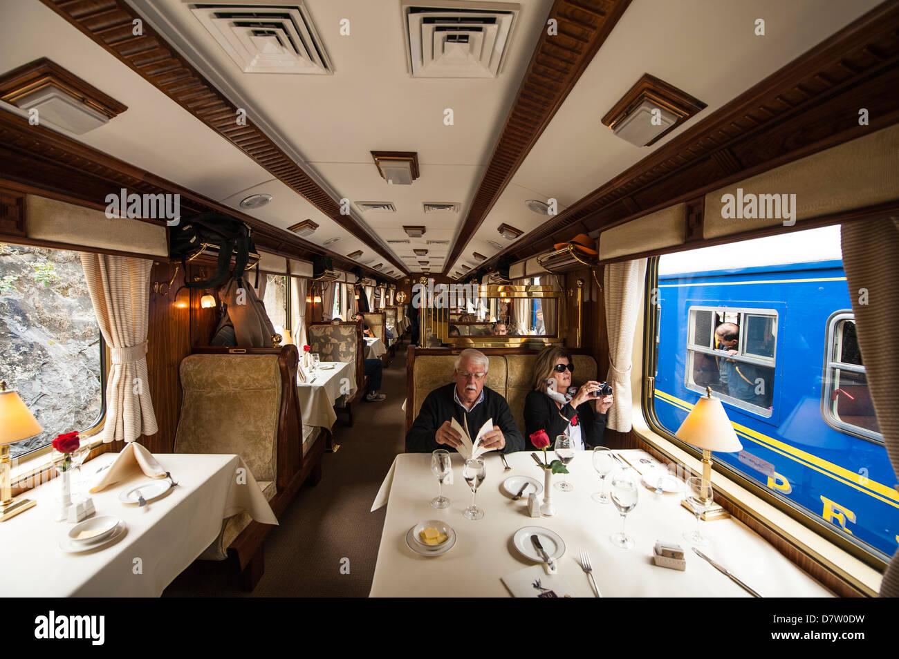The Hiram Bingham train to Aguas Calientes, Peru, South America Stock Photo