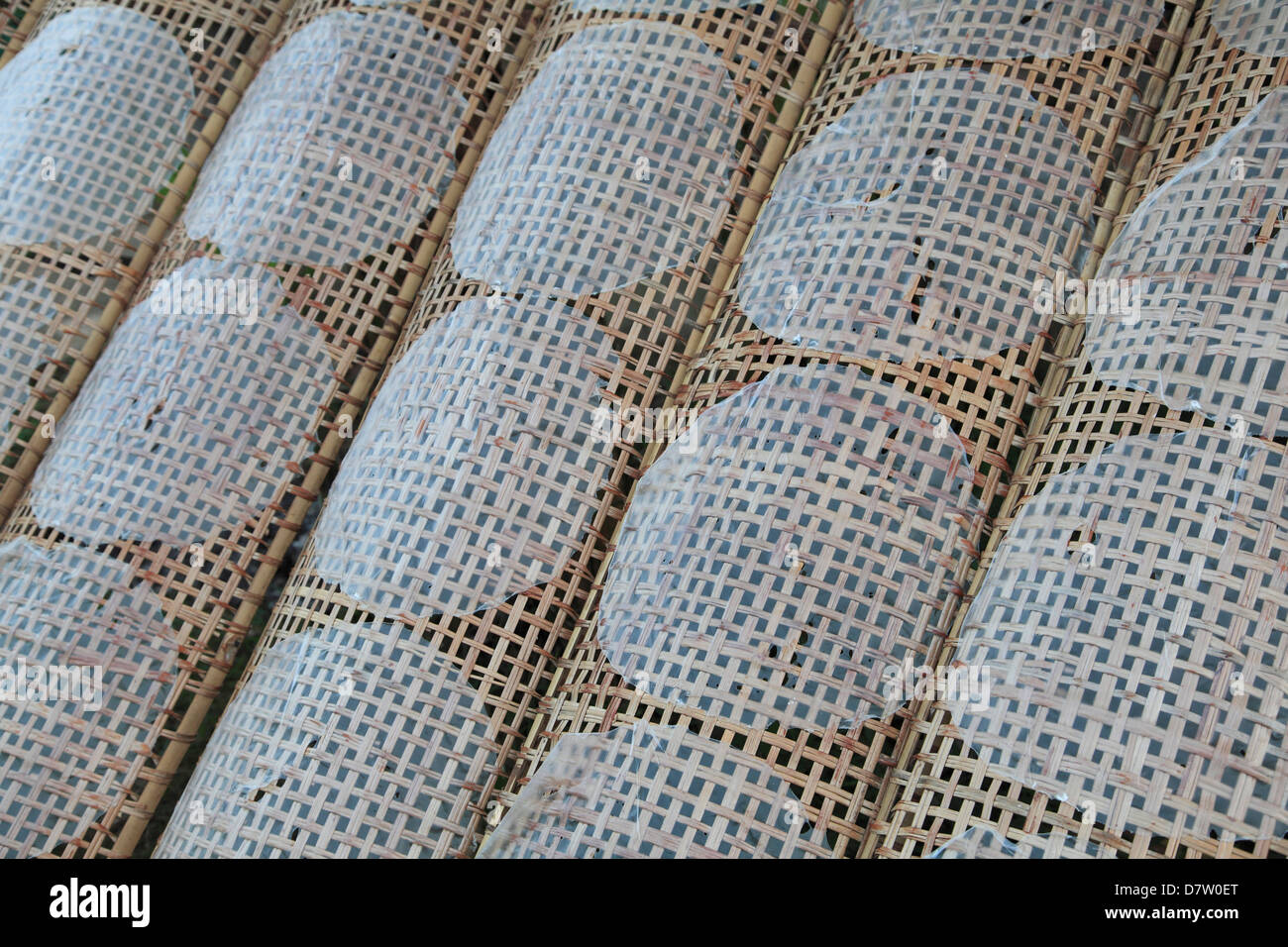 Rice paper crepes drying, Cu Lao May, Mekong Delta, Vinh Long Province, Vietnam, Indochina, Southeast Asia - Stock Image