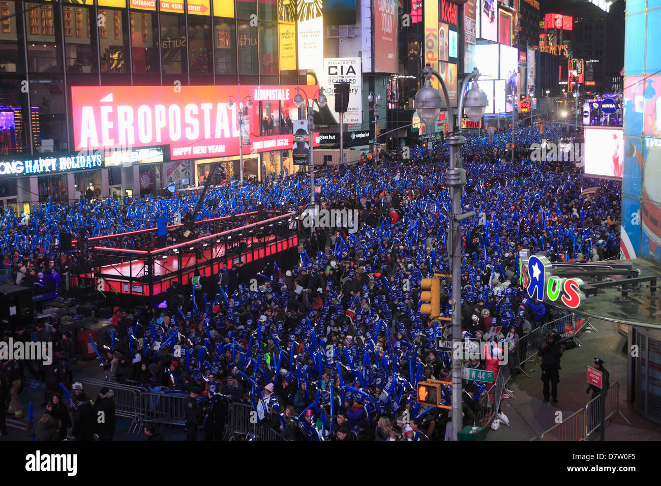 Revelers, Crowds, New Years Eve, Times Square, Manhattan, New York City, USA - Stock Image