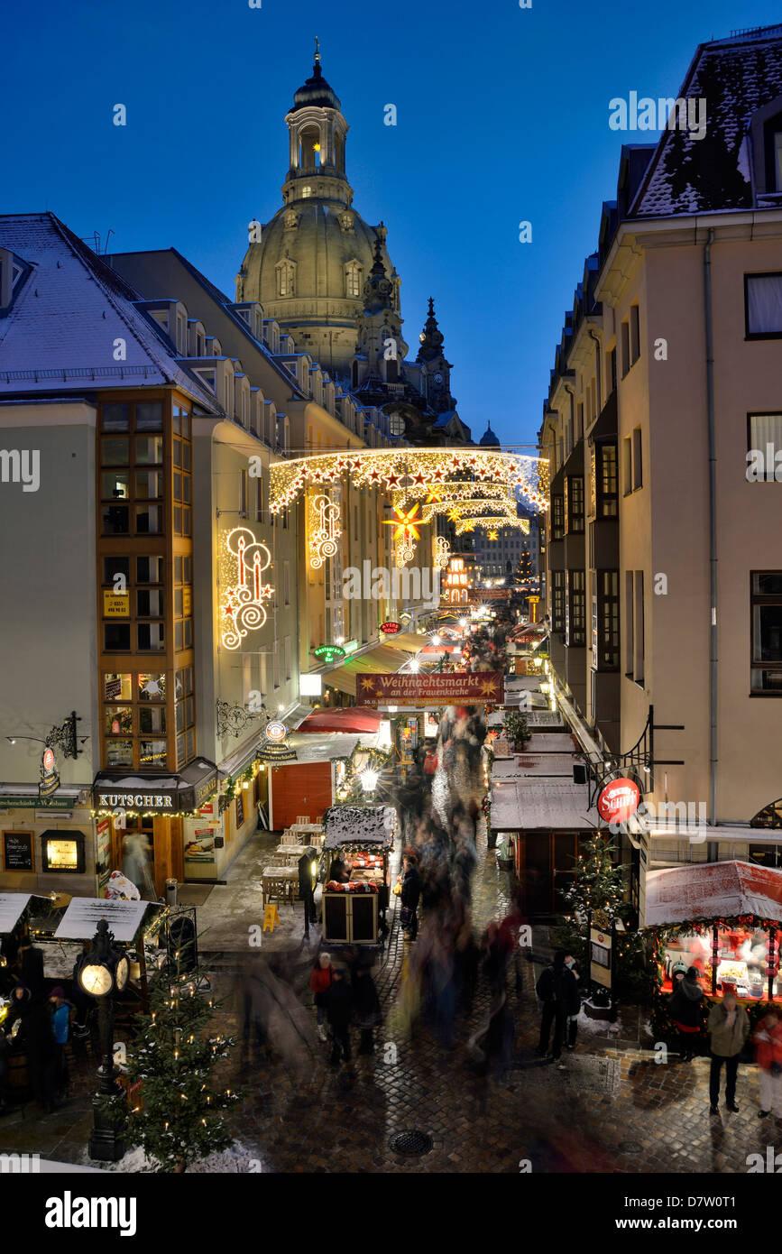Dresden, Weihnachtsmarkt Münzgasse, Sachsen, Deutschland - Stock Image