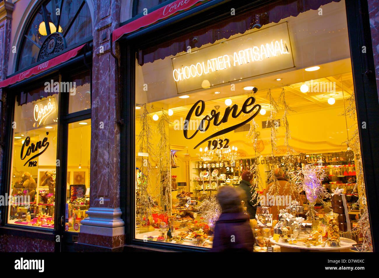 Chocolate Shop, Galleries St. Hubert, Brussels, Belgium - Stock Image