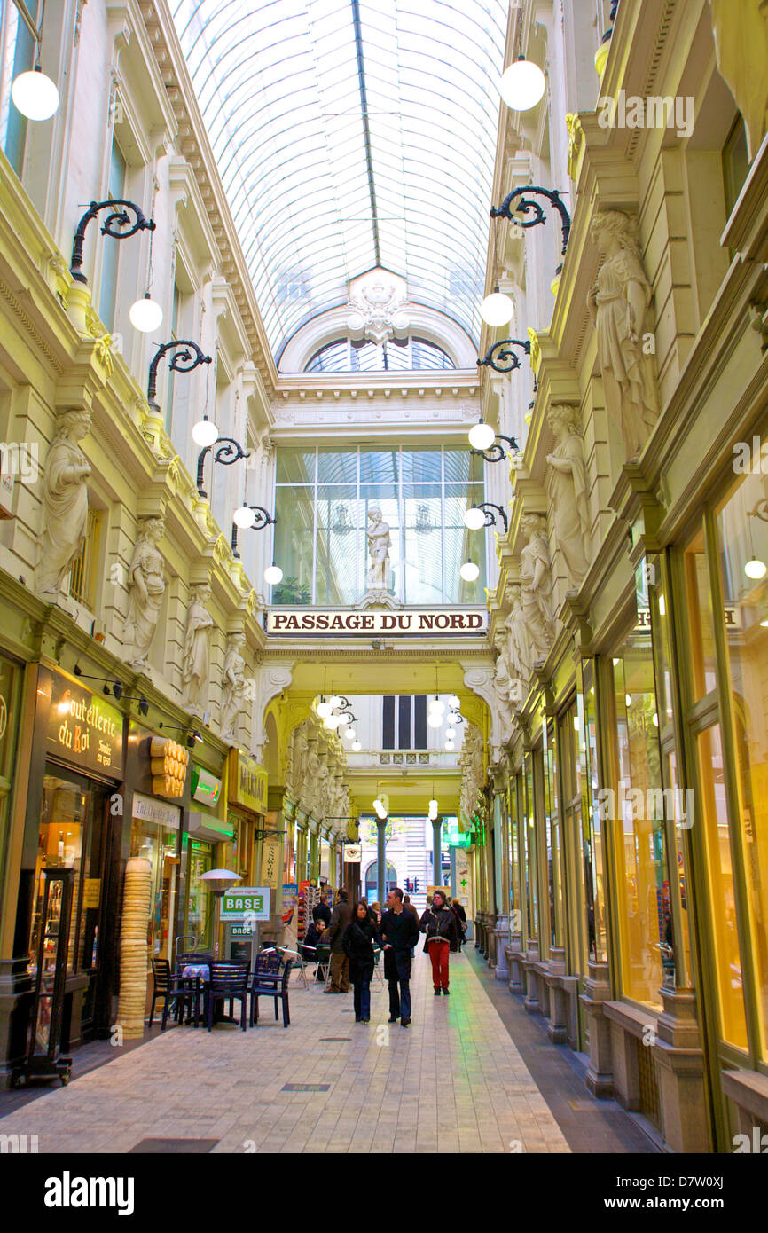 Shopping Arcade, Passage Du Nord, Brussels, Belgium - Stock Image