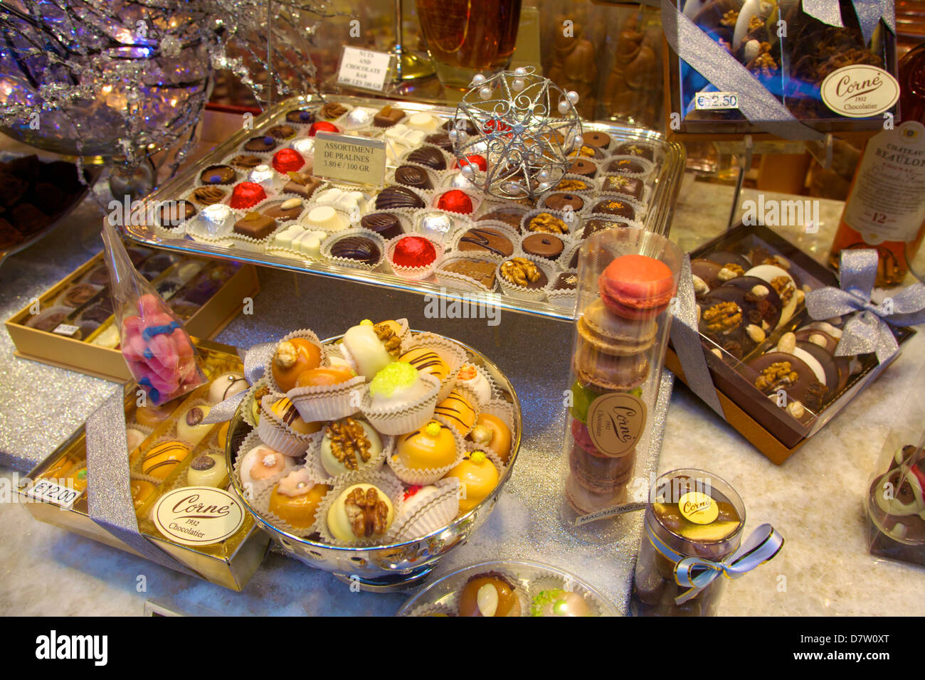 Sweet Shop Display, Brussels, Belgium - Stock Image