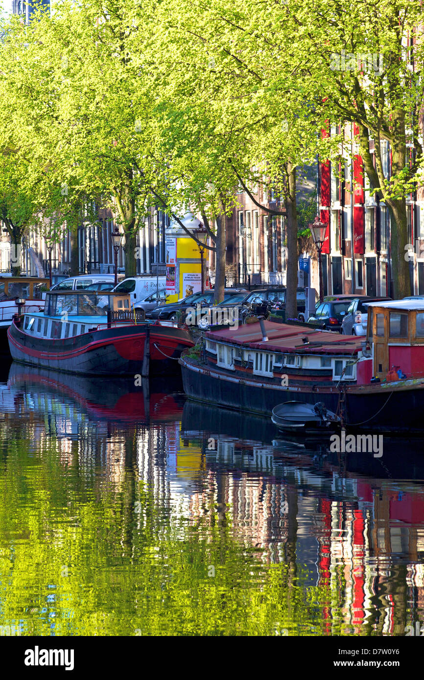 Houseboats on canal, Amsterdam, Netherlands - Stock Image