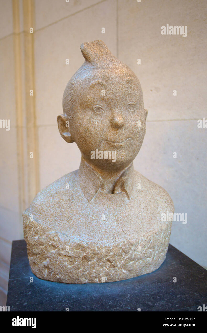 Tin Tin Bust, Museum of Comic Strip Art, Brussels, Belgium - Stock Image