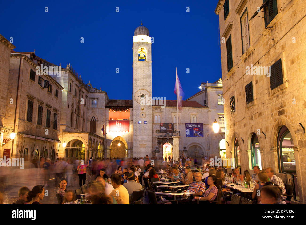 Restaurants, Clock Tower and Stradun, Dubrovnik, Croatia - Stock Image