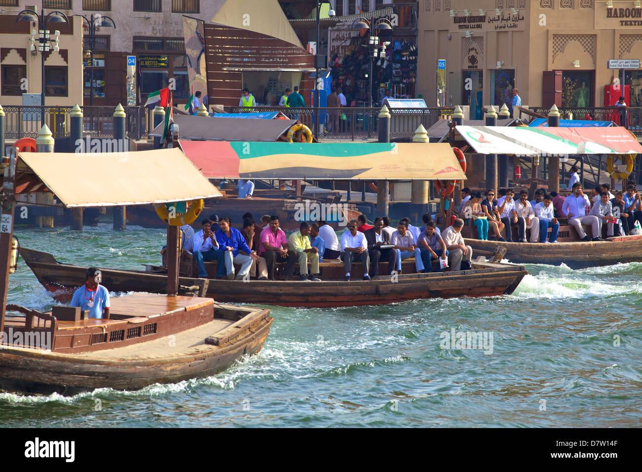 Ferries on Dubai Creek, Dubai, United Arab Emirates, Middle East - Stock Image