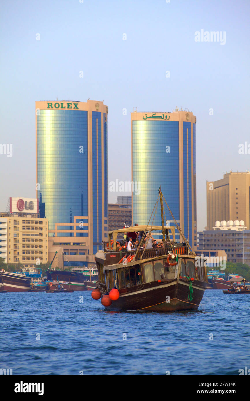 Tourist boat on Dubai Creek, Dubai, United Arab Emirates, Middle East - Stock Image
