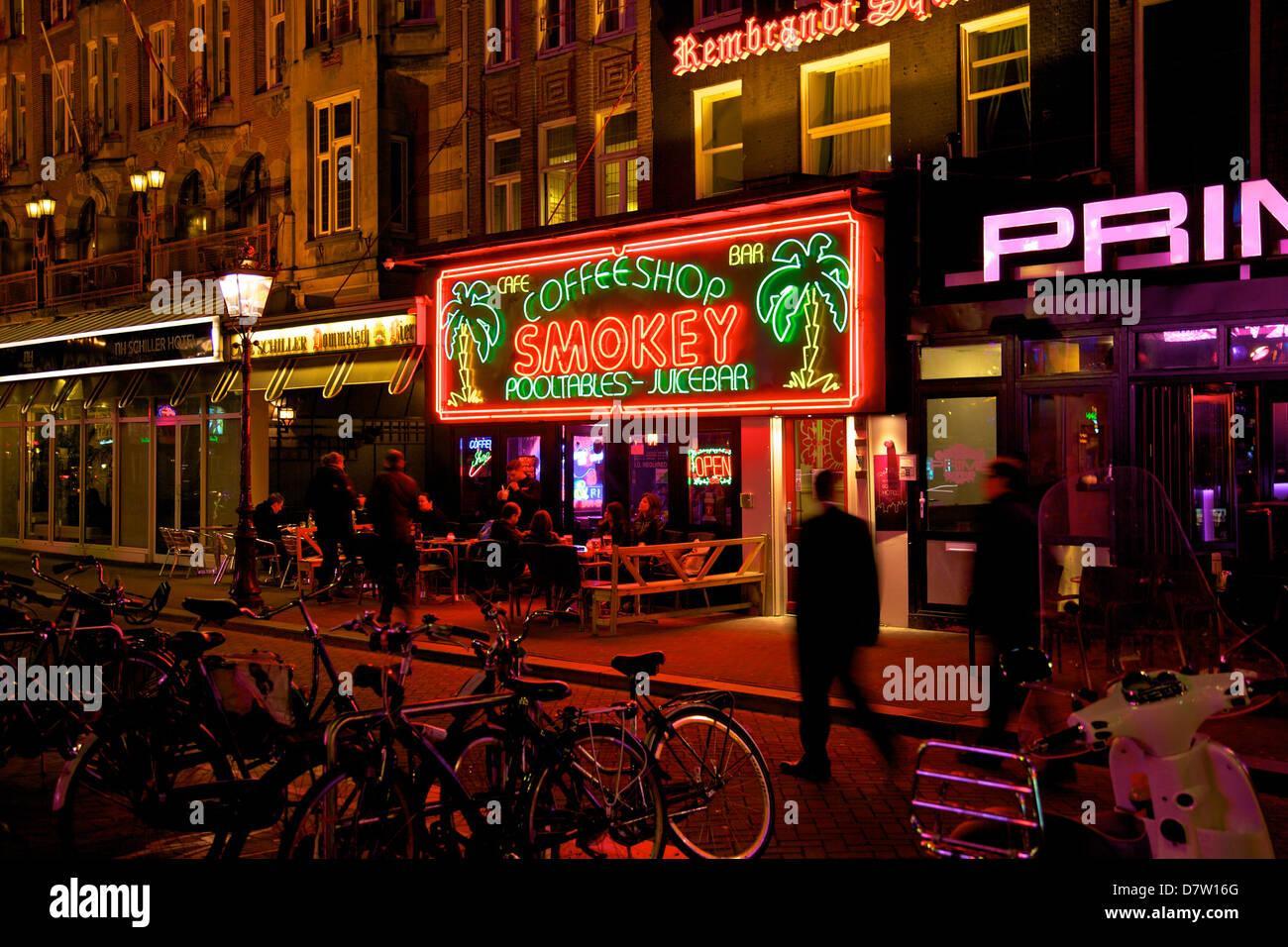 Bar in Rembrandtsplein, Amsterdam, Netherlands - Stock Image