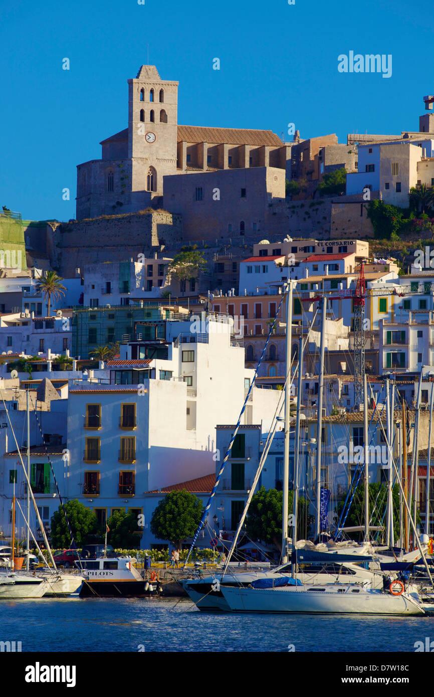 Dalt Vila and Harbour, Ibiza Old Town, UNESCO World Heritage Site, Ibiza, Balearic Islands, Spain - Stock Image