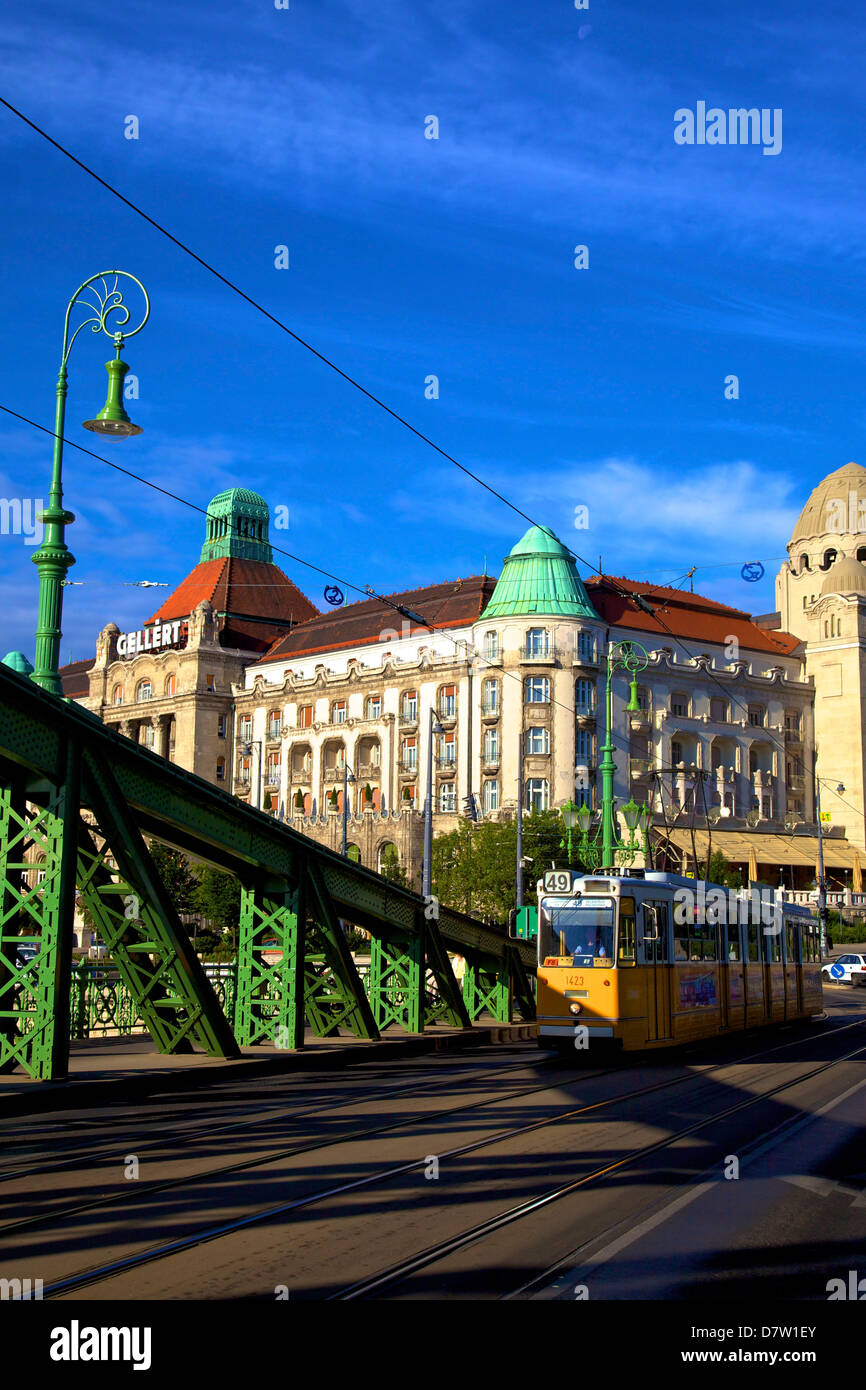 Gellert Hotel and Spa, Liberty  Bridge and tram, Budapest, Hungary Stock Photo