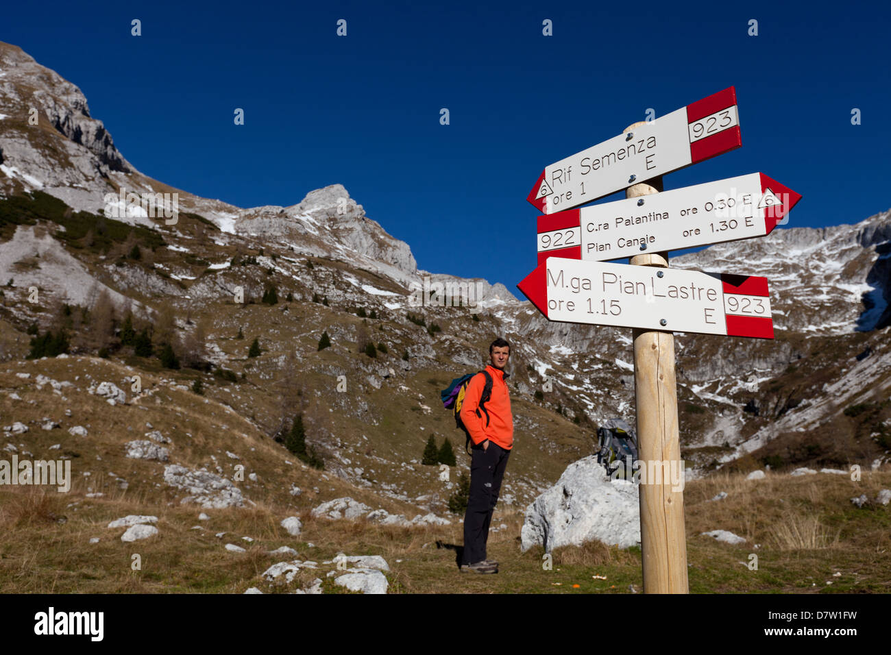 Signs along the track to Semenza refuge, Alpago, Belluno, Veneto, Italy - Stock Image
