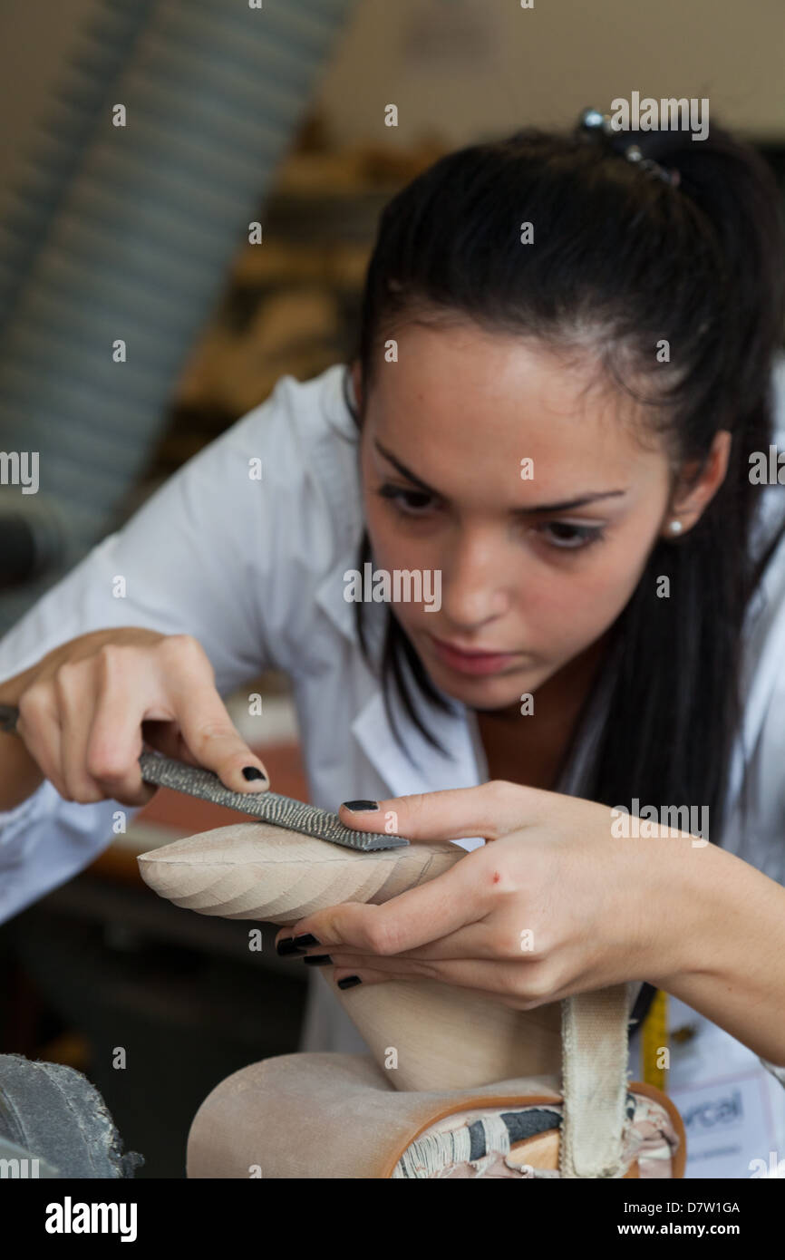 Wood model laboratory at Cercal footwear school, San Mauro Pascoli, Emilia-Romagna, Italy - Stock Image