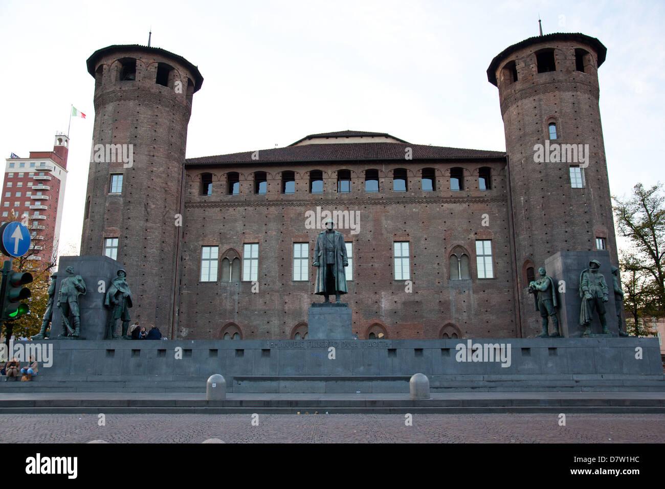 Casaforte degli Acaja, the rear area of Palazzo Madama, Turin, Piedmont, Italy - Stock Image