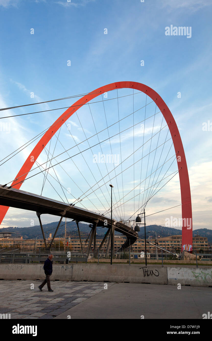 The Olympic Arch of Turin, a pedestrian bridge, symbol of the XX Olympic Winter Games held in 2006, Turin, Piedmont, - Stock Image