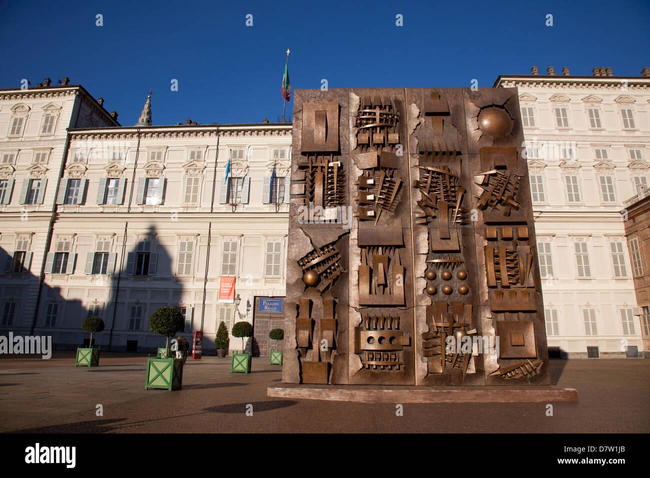 Arnaldo Pomodoro sculptures at The Royal Palace (Palazzo Reale), Turin, Piedmont, Italy - Stock Image