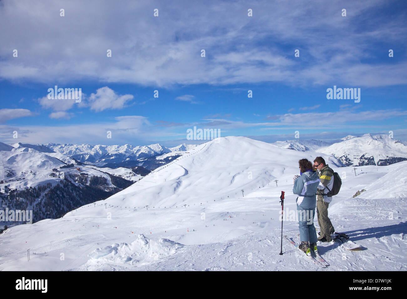 View of La Plagne, Savoie, French Alps, France - Stock Image